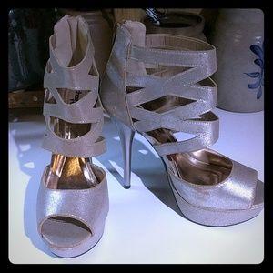 Charlotte Russe Caged Glitter Platform Heels